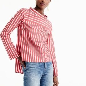 J. Crew Striped Funnel Button Neck High/low Blouse